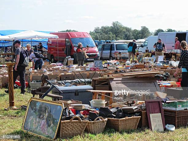Cardboard boxes with items for sale at Flea Market