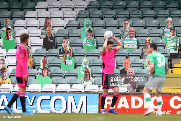 Cardboard cut out fans look on from the stand during the Vanarama National League match between Yeovil Town and F.C Halifax at Huish Park on May 03,...