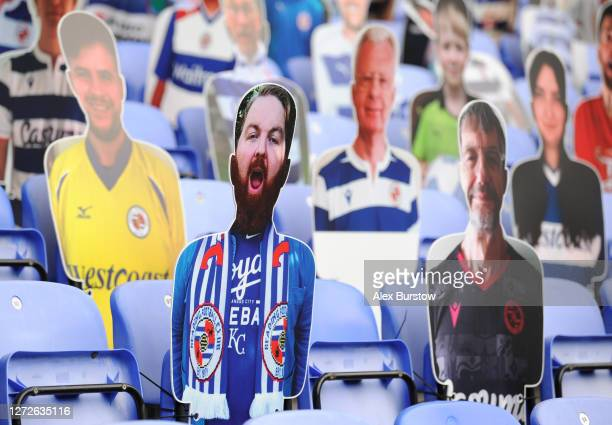 A cardboard cut out of a fan is seen prior to Carabao Cup Second Round match between Reading FC and Luton Town at Madejski Stadium on September 15...