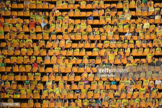 Cardboard cut outs of Villarreal supporters are seen in the stands during the Liga match between Villarreal CF and RCD Mallorca at Estadio de la...