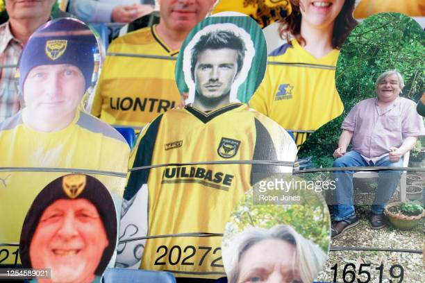 A cardboard cutout of David Beckham is found amongst cutouts of Oxford Utd fans in the stands ahead of the Sky Bet League One Play Off Semifinal 2nd...