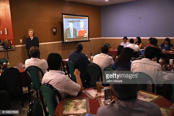 A cardboard cutout of Democratic presidential candidate Hillary Clinton is on display at a debatewatching party for supporters of Hillary Clinton at...