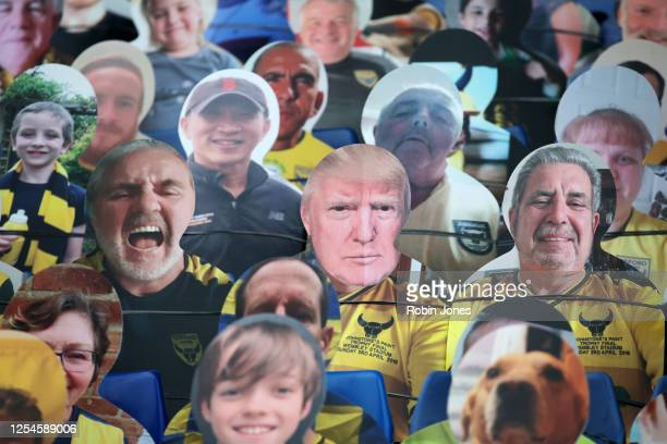 Cardboard cut-out of Donald Trump is found amongst cut-outs of Oxford Utd fans in the stands ahead of the Sky Bet League One Play Off Semi-final 2nd...