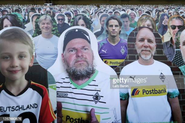 Cardboard cutout of fans and Yann Sommer of Borussia Moenchengladbach are seen in the tribune prior to the Bundesliga match between Borussia...