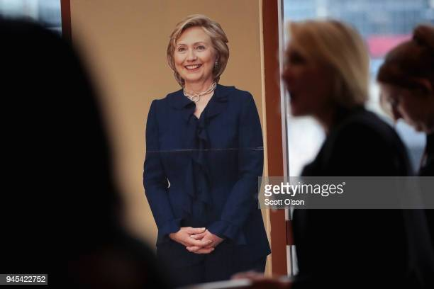 A cardboard cutout of Former Secretary of State Hillary Clinton sits against the wall as guests arrive at the Idas Legacy Fundraiser Luncheon on...
