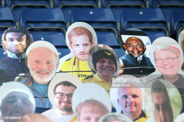 Cardboard cut-out of Prince Harry is found amongst cut-outs of Oxford Utd fans in the stands ahead of the Sky Bet League One Play Off Semi-final 2nd...
