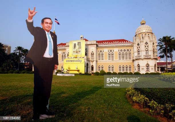 A cardboard cutout of Thailand's Prime Minister Prayuth Chanocha is seen at Government House to celebration the Children's Day in Bangkok Thailand on...