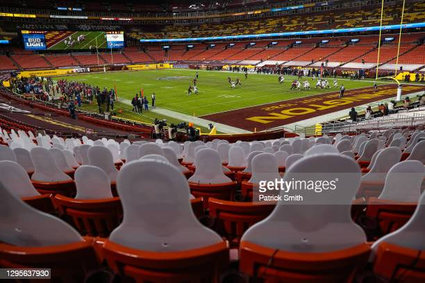 Cardboard cutouts are seen in a general view as the Tampa Bay Buccaneers play the Washington Football Team during the second quarter of the NFC Wild...