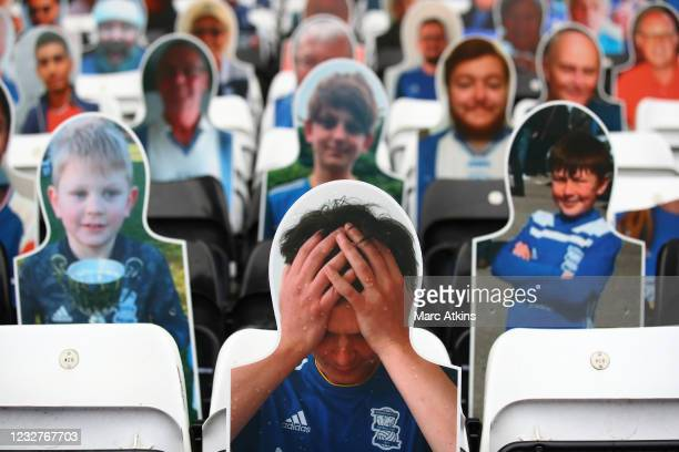 Cardboard cutouts of a dejected Birmingham City fan is seen prior to the Sky Bet Championship match between Coventry City and Millwall at St Andrew's...