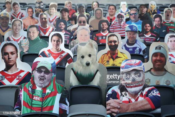 Cardboard cutouts of fans are placed in seats around the stadium during the round three NRL match between the Cronulla Sharks and the Wests Tigers at...