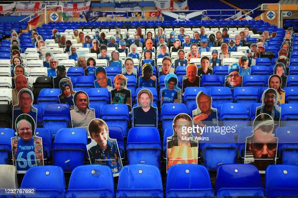 Cardboard cutouts of fans are seen prior to the Sky Bet Championship match between Coventry City and Millwall at St Andrew's Trillion Trophy Stadium...