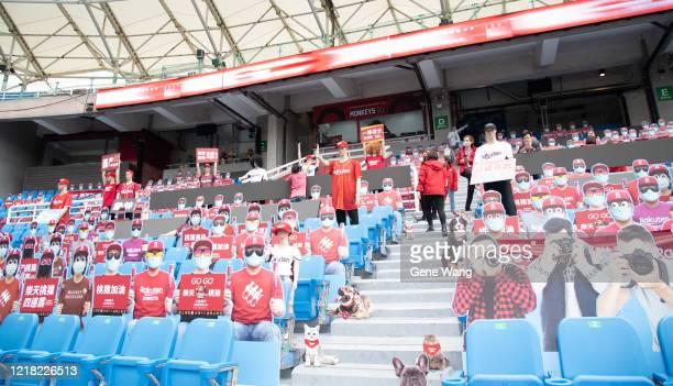 Cardboard cutouts of fans prior to the CPBL season opening game between Rakuten Monkeys and CTBC Brothers at Taoyuan International Baseball Stadium...