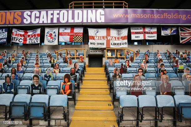 Cardboard cutouts of fans stand in the empty stands during the PreSeason Friendly between Millwall and Crystal Palace at The Den on September 1 2020...