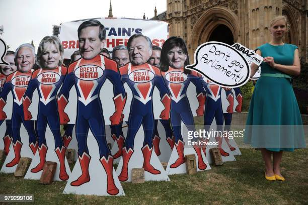 Cardboard cutouts of MPs Tom Tugendhat Robert Neill Anna Soubry Dominic Grieve Kenneth Clarke Nicky Morgan Stephen Hammond and Jeremy Lefroy are...