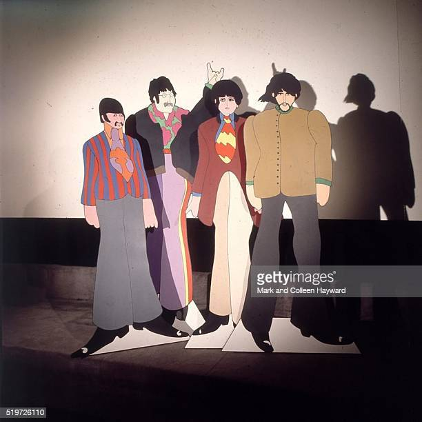 Cardboard cutouts of The Beatles' 'Yellow Submarine' characters at TVC animation Studios in London 6th November 1967 They were taking part in a short...