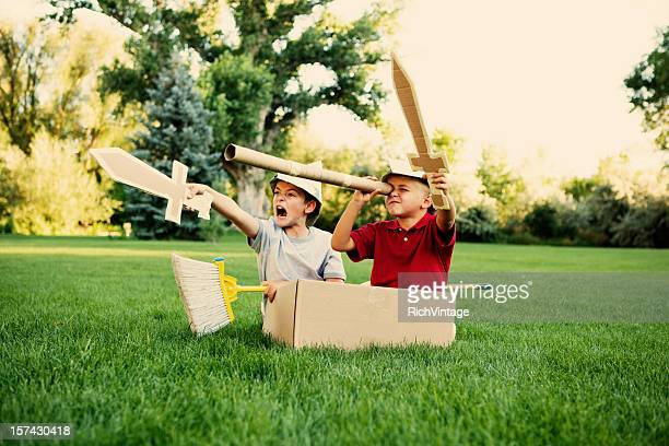 cardboard explorers - sword stock pictures, royalty-free photos & images