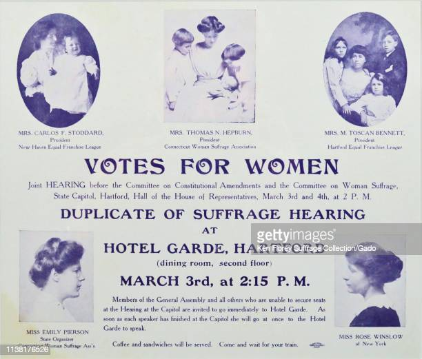 Cardboard poster announcing a meeting of the Connecticut Woman Suffrage Association with portraits of local suffrage leaders including Ruza...