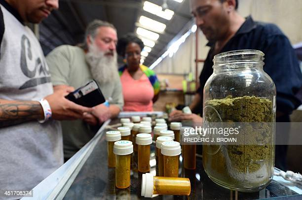 Cardcarrying medical marijuana patients eager to learn more about Kief in jar at Los Angeles' firstever cannabis farmer's market at the West Coast...
