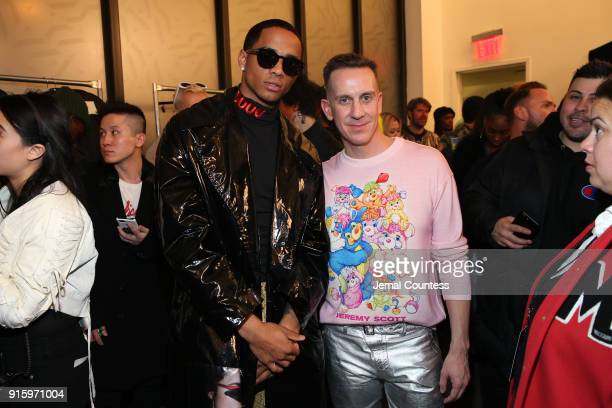 Cardell Broadus and designer Jeremy Scott pose backstage for Jeremy Scott during New York Fashion Week The Shows at Gallery I at Spring Studios on...