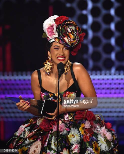 Cardi B accepts Favorite Artist Rap/HipHop onstage during the 2018 American Music Awards at Microsoft Theater on October 9 2018 in Los Angeles...