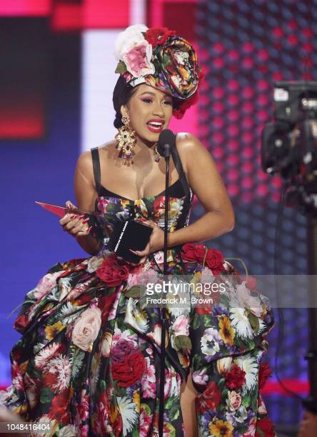 Cardi B accepts the Favorite Artist Rap/HipHop award onstage during the 2018 American Music Awards at Microsoft Theater on October 9 2018 in Los...
