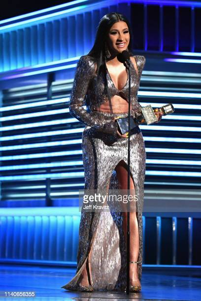 "Cardi B accepts the Top Rap Song award for ""I Like It"" onstage during the 2019 Billboard Music Awards at MGM Grand Garden Arena on May 1, 2019 in Las..."