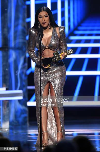 Cardi B accepts the Top Rap Song award for 'I Like It' onstage during the 2019 Billboard Music Awards at MGM Grand Garden Arena on May 01, 2019 in...