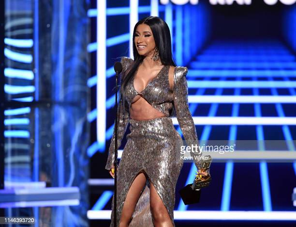 Cardi B accepts the Top Rap Song award for 'I Like It' onstage during the 2019 Billboard Music Awards at MGM Grand Garden Arena on May 01 2019 in Las...
