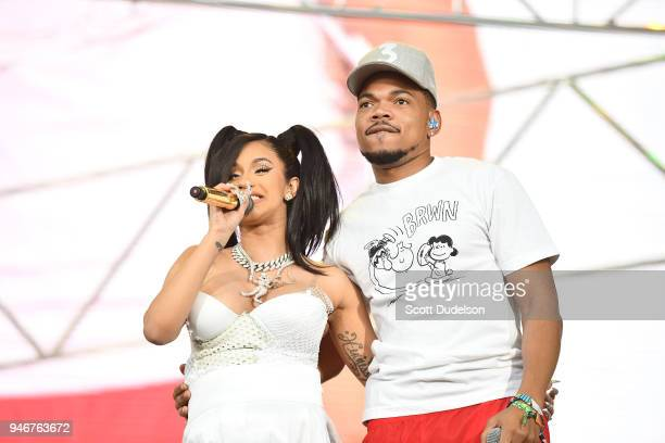 Cardi B and Chance the Rapper perform on the Coachella stage during week 1 day 3 of the Coachella Valley Music and Arts Festival on April 15 2018 in...
