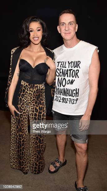 Cardi B and designer Jeremy Scott pose backstage at the Jeremy Scott show during New York Fashion Week The Shows at Gallery I at Spring Studios on...