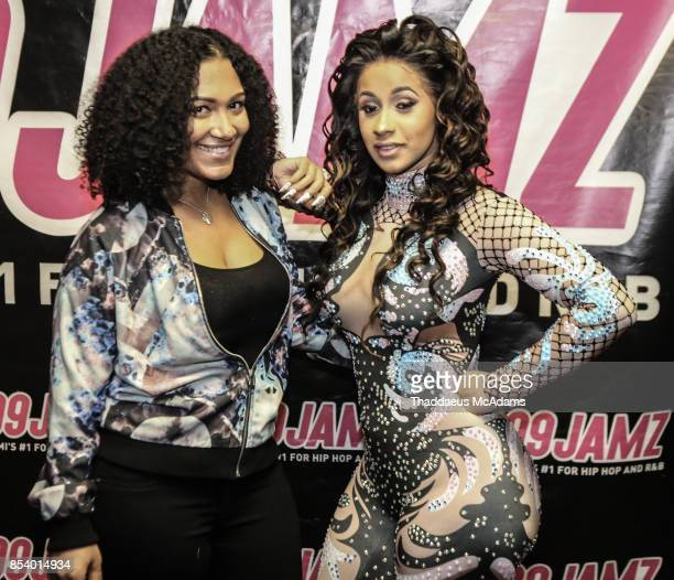 Cardi B and Felisha Monet pose backstage at Revolution Live on September 25 2017 in Fort Lauderdale Florida