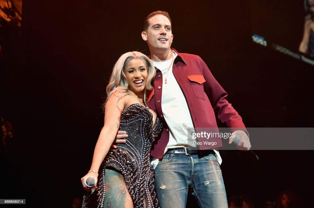Cardi B and G-Eazy perform onstage during 105.1's Powerhouse 2017 at the Barclays Center on October 26, 2017 in the Brooklyn, New York City City.