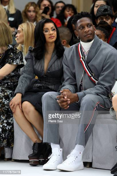 Cardi B and Kollin Carter attend the Thom Browne Womenswear Spring/Summer 2020 show as part of Paris Fashion Week on September 29, 2019 in Paris,...