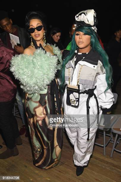 Cardi B and Lil Kim attend the Marc Jacobs Fall 2018 Show at Park Avenue Armory on February 14 2018 in New York City