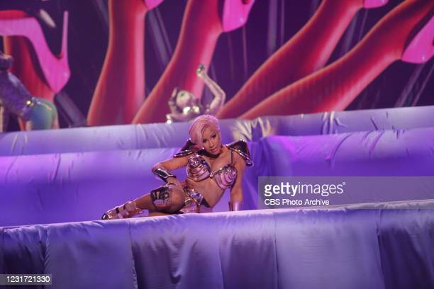 Cardi B and Megan Thee Stallion performing at THE 63rd ANNUAL GRAMMY® AWARDS, broadcast live from the STAPLES Center in Los Angeles, Sunday, March...