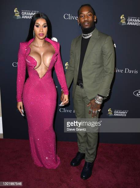 Cardi B and Offset arrives at the PreGRAMMY Gala and GRAMMY Salute to Industry Icons Honoring Sean Diddy Combs at The Beverly Hilton Hotel on January...