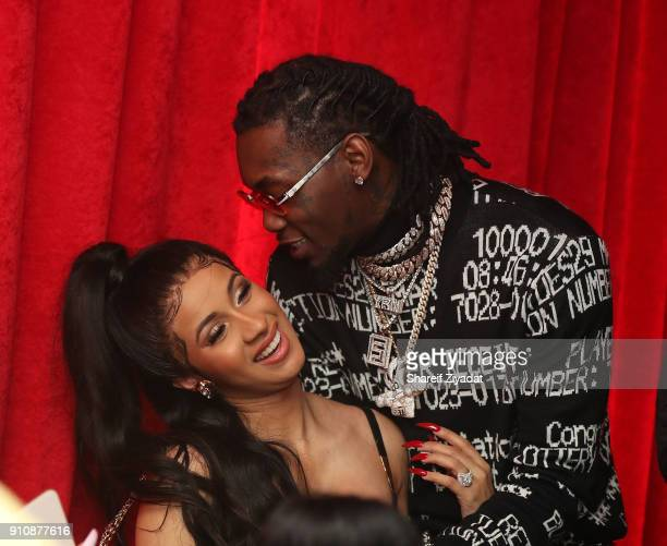 Cardi B and OffSet attend Beats x Migos x Grammy Event at Milk Studios on January 26 2018 in New York City