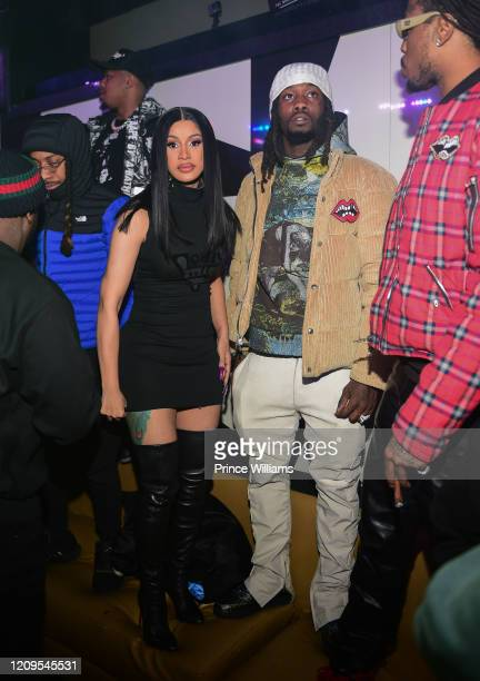 Cardi B and Offset attend Hawks vs Nets After Party at Gold Room on February 28 2020 in Atlanta Georgia