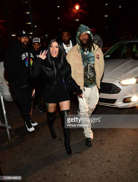 Cardi B and Offset attend Hawks vs Nets After Party at Gold Room on February 28, 2020 in Atlanta, Georgia.