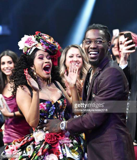 Cardi B and Offset attend the 2018 American Music Awards at Microsoft Theater on October 9 2018 in Los Angeles California