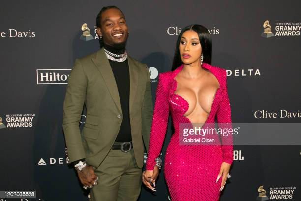 Cardi B and Offset attend the PreGRAMMY Gala and GRAMMY Salute to Industry Icons Honoring Sean Diddy Combs at The Beverly Hilton Hotel on January 25...