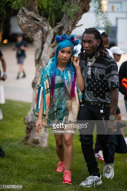 Cardi B and Offset is seen at Revolve Festival during Coachella Festival on April 14 2019 in La Quinta California