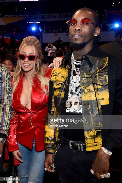 Cardi B and Offset of Migos attend the 67th NBA AllStar Game Team LeBron Vs Team Stephen at Staples Center on February 18 2018 in Los Angeles...
