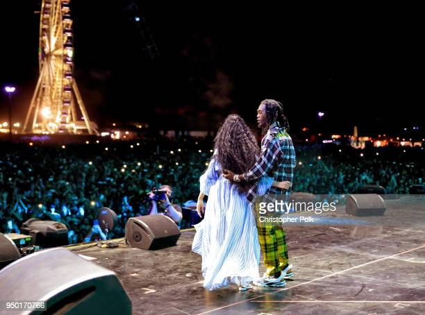 Cardi B and Offset of Migos perform onstage during the 2018 Coachella Valley Music And Arts Festival at the Empire Polo Field on April 22 2018 in...