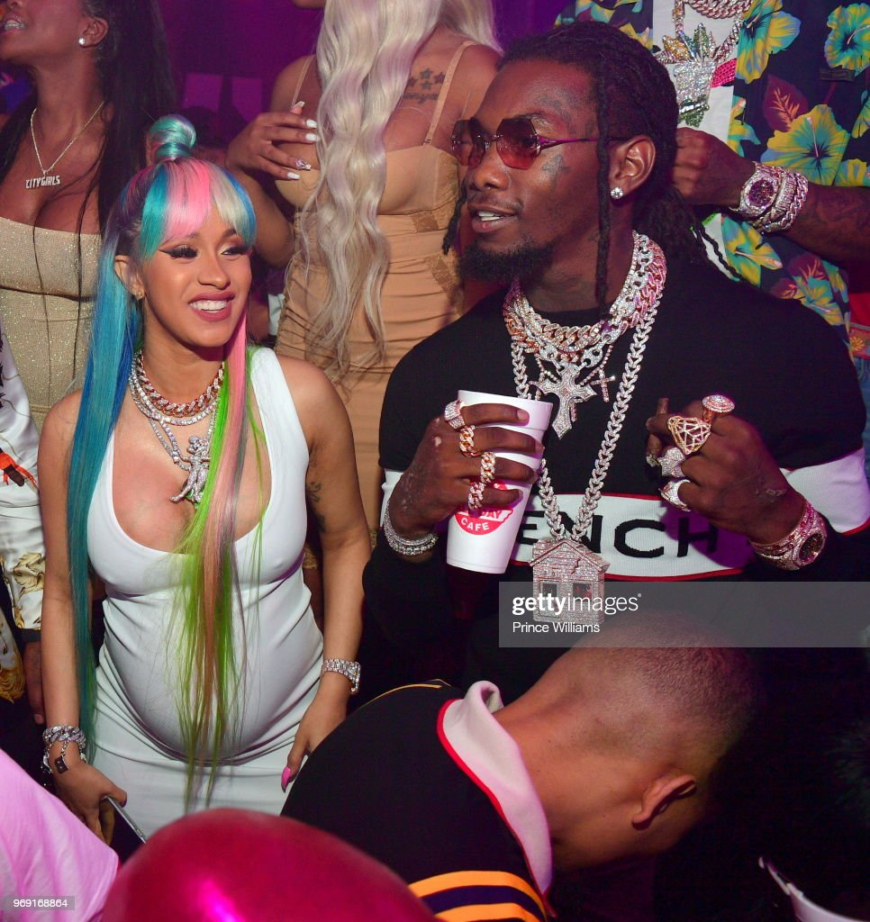 Cardi B and Offset of The Group Migos attend a Birthday Celebration for Pierre 'Pee' Thomas at Gold Room on June 7, 2018 in Atlanta, Georgia.