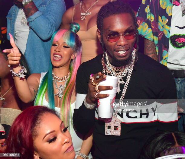 Cardi B and Offset of The Group Migos attend a Birthday Celebration for Pierre 'Pee' Thomas at Gold Room on June 7 2018 in Atlanta Georgia