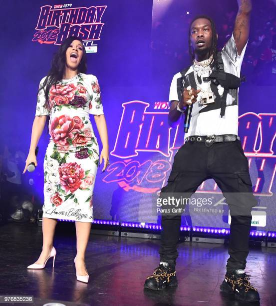 Cardi B and Offset of the Migos perform on stage during Hot 1079 Birthday Bash at Cellairis Amphitheatre at Lakewood on June 16 2018 in Atlanta...