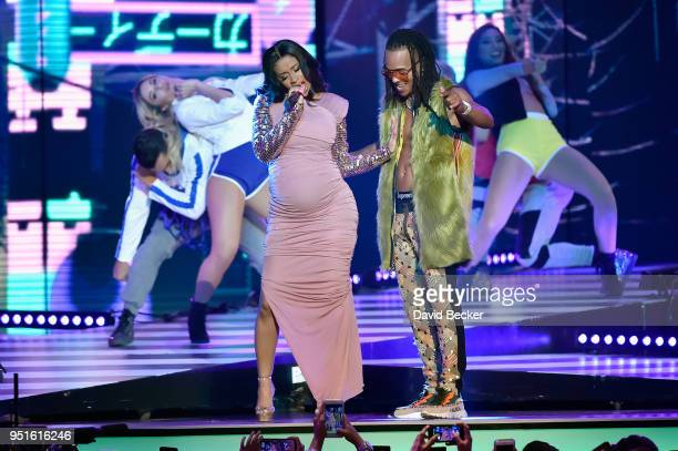 Cardi B and Ozuna perform onstage at the 2018 Billboard Latin Music Awards at the Mandalay Bay Events Center on April 26 2018 in Las Vegas Nevada