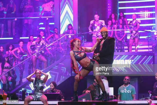 Cardi B and Pardison Fontaine perform on stage at the BET Hip Hop Awards 2018 at LIV nightclub at Fontainebleau Miami on October 4 2018 in Miami...