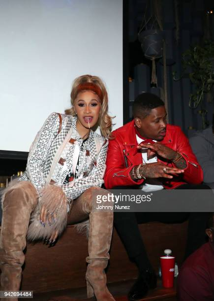 Cardi B and YG attend the Cardi B Silent Listening Party on April 5, 2018 in New York City.